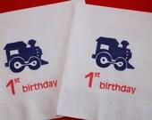 50 1st Birthday PAPER NAPKINS Boys Train Birthday Party Decorations Choo Choo Train Birthday Decor Thomas The Train Train Themed Birthday