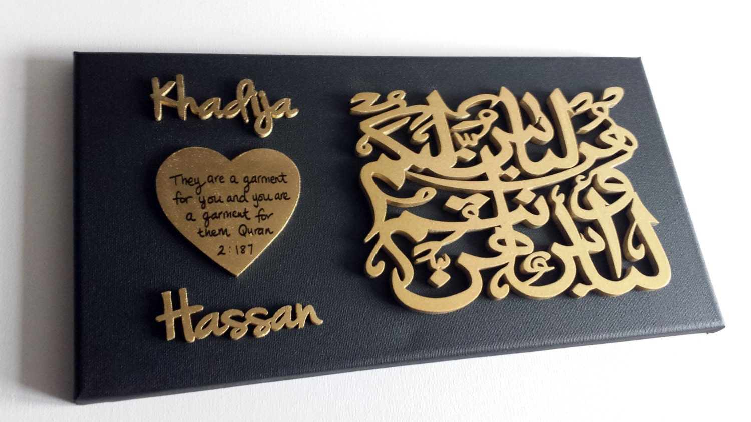 Muslim Wedding Gift Ideas: Islamic Wedding Gift. Personalised Handmade Islamic Wall Art