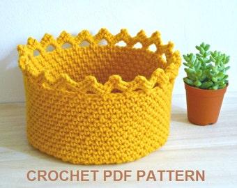PDF Pattern, Crochet Basket Pattern, Crochet Crown Edge Basket, Crochet Bowl Pattern, Instant Download