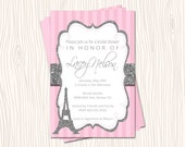 Afternoon in Paris Silver or Gold Glitter Baby Wedding Bridal Shower Party Invitation Card or Thank you Note - Any Color