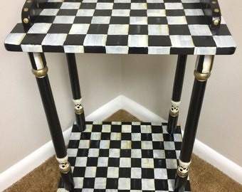 Black and White Check Accent Table