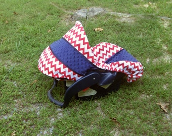 Red navy blue Chevron Stripe minky baby car seat cover infant seat cover slip cover Graco fit or evenflo slip cover
