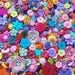 "50 Assorted Flower Garden Buttons - grab bag of bulk flower buttons, bulk buttons multi sizes 1/4"" up to 2"", lots of color & variety"