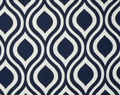 """READY to SHIP - TWO Curtain Panels, 25"""" x 63"""" - Navy Blue and White Geometric, Damask Pattern"""