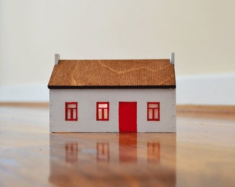 Irish cottage laser cut lighted house with red door