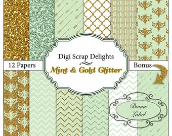 Mint Green and Gold Glitter Scrapbook Paper  Instant Download