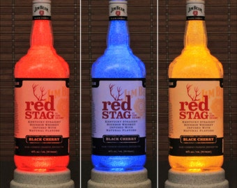 Jim Beam Red Stag Whiskey Color Changing LED Remote Control Bottle Lamp Bar Light Bodacious Bottles