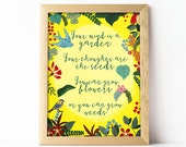 Printable wall art decor, Print nursery, inspirational quotes, oh mamma mia, floral art, your mind is a garden, empowering kids