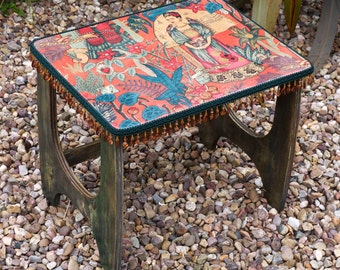 Frida Kahlo Upcycled Small Retro Table with Glossy Top & Beading