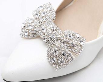 Pair Shoes Clips,Bridal,Wedding Shoe clips,Bridesmaids Shoes,Crystal Shoes Clips,Bow Clips,Wedding Applique Shoe Clips,Butterfly Shoe Clips