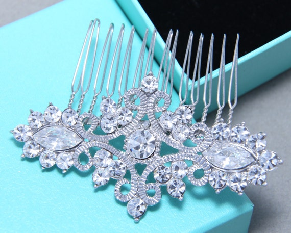 Vintage Style Motif Rhombus Marquise Rhinestone Crystal Wedding Hair Comb, Bridal Hair Comb, Wedding Hair Accessory, Bridal Headpiece