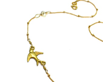 Asymmetric Bird Layering Necklace Free Bird. Free Spirit. Boho Chic Jewelry. Symbolic Jewelry.