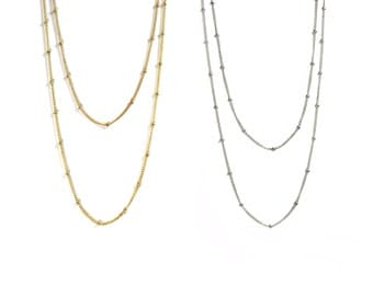 Petwa. Layering Necklace. One Strand of Delicate Gold Filled or Sterling Silver Satellite Chain.