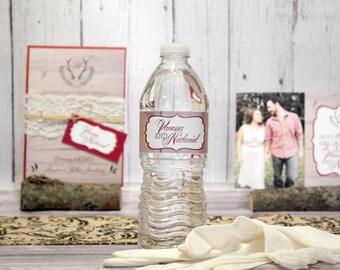 "Rustic Wood Custom Wedding Water Bottle Labels – Wedding Bridal Shower – Anniversary, Engagement Party – Custom Label – ""Beautiful Barnwood"""