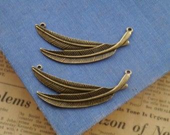 3 pcs Large Antique Bronze Leaf Feather Charm Pendant Connextors 6.8cm (BC2361)