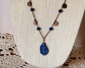 Womens Necklace Set Blue Imperial Jasper & Polished Agate Gemstones with Copper, Necklace/Earring Gift Set Womens Jewelry Gift for Mom