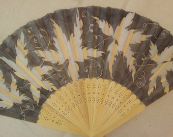 Hand fan -Silk Painted -Natural Wood -White maple leaves on gray