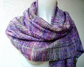 Handwoven Scarf / Shawl / Wrap, Unique scarf, Purple / Green,Silk, Hand dyed