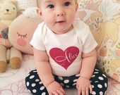 Valentine's Day Glitter Heart Personalized Onesie Bodysuit - Multiple Colors Available