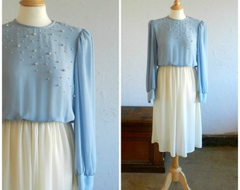 70's ELEGANT PEARL DRESS - Sheer / Periwinkle Blue / Pearl Details / Wedding / Holiday / Special Occasion / Size Medium