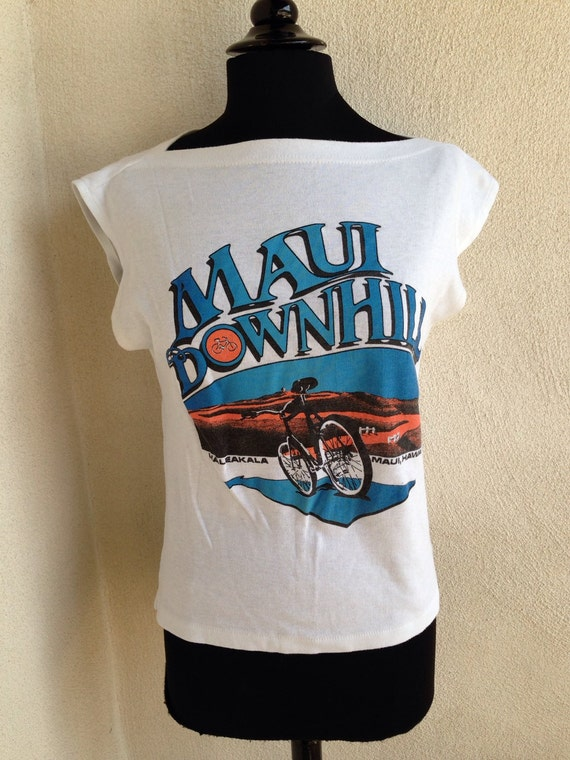 Vintage 80's MAUI Downhill t shirt with boat neck cut