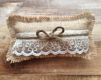 Burlap Ring Bearer Pillow With Jute Twine & Lace-Rectangle Shape- Wedding Ceremony-Rustic/Shabby Chic-Minimalist/Natural