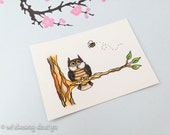 """Owl animal painting, bee painting,aceo art print, whimsical animals, miniature art, nature inspired, """"Owl and Bee"""", 2.5 x 3.5 inches"""
