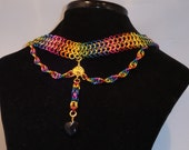 Rainbow Choker with Swarovski Heart Pendant