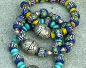 XMAS SALE BOHO Beaded Bracelets - 3 Stackable Tribal Bracelets - Krobo Painted Glass - Moroccan Silver Focal Beads-Joy Moos Collection