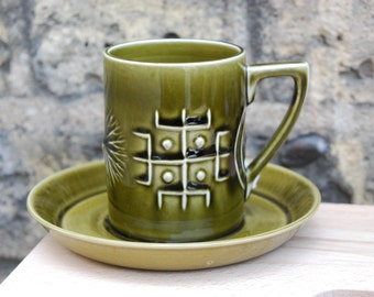 Vintage 1960s Portmeirion coffee cup & saucer - totem design in olive green by Susan Williams Ellis