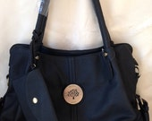 Handmade Black Leather Hand Bag with Brass Details