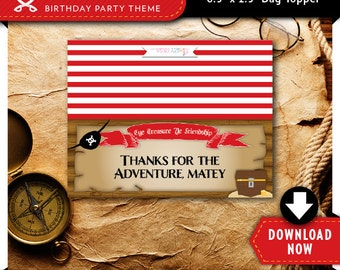 Pirate Treat Bag Topper | Printable Candy Bag Toppers | Labels for Birthday Party Favor Bags | Instant Download