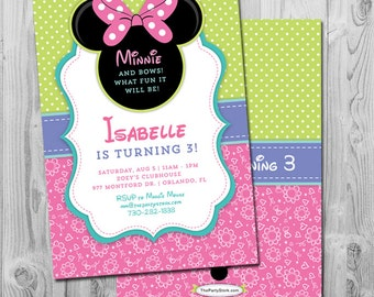 Minnie Bowtique Invitations | Printable Girls Birthday Party Invitation | Pink Green Purple Blue | Minnie Mouse Decorations Available