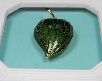 Signed and Numbered Boucher Enamel Brooch or Pin, Green Fruit Figural, 60s Vintage