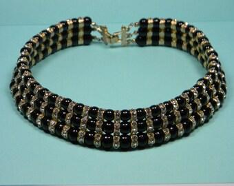 Elegant Black Bold Vintage Clear Rhinestone Choker, Collar, Quality
