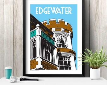 EDGEWATER Chicago Neighborhood Poster
