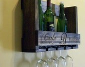 Pallet Wine Rack Wine Glass Holder Ready to Ship OR Custom Carved