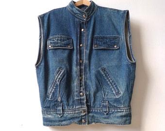 vintage JEAN JACKET faded vest