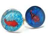 Goldfish in a tank. Fish in a pool. resin ring, resin jewelry. Animal jewelry. Goldfish. Modern Jewelry, adjustable ring