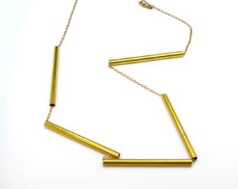 Necklace brass tube, gold, Modern jewelry. Bar necklace. Minimal. Raw brass, boho,