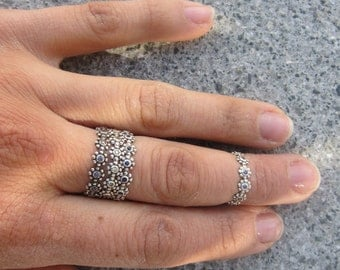 Eternity KNUCKLE Ring - Flower Child Band - sterling flowers WITHOUT STONES