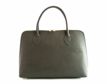 Handmade Tote Bag, Green Italian Leather Purse, Designer Leather Handbag, Leather Briefcase -.- the Haupu  -.-  winter sale 30% off