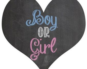 Boy or Girl gender reveal balloon box sign chalkboard printable digital file BLUE and PINK