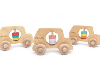 Personalized Rattle Car Rattle Baby Rattle Wooden Rattle Baby Toy Baby Shower Toy Personalized Toy Baby Gift Wooden Toy Personalized Baby