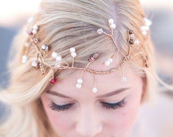 bridal  halo with satin ties rose gold bridal wire weath fresh water pearls, czech beads, crystals, wedding vine halo