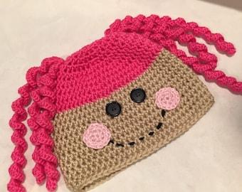 Hat, Crochet Hat, Girls Hot Pink Crochet Loopsy Hat