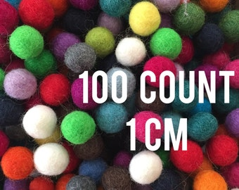 100 count - 1cm wool felted balls