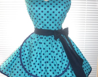 French Maid Apron Teal with Navy Dots Pin-up Retro Style Flirty Skirt Sweetheart Neckline