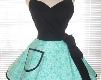 Fifties Style Sweetheart Retro Apron Aqua and Light Teal Blue and Black Circular Flirty Skirt