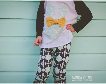 """Swanky Shank """"Mustardly Mint to Be"""" Girl Easter Baseball Tee"""